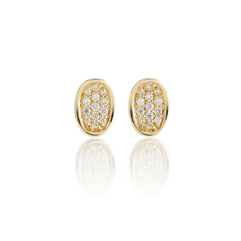 Gump's Concave Gold Diamond Oval Stud Earrings