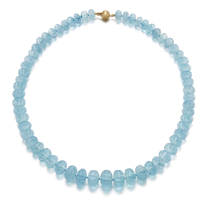 Gump's Graduated Fluted Aquamarine Bead Necklace