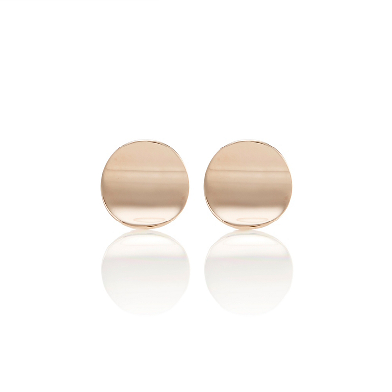 Gump's Rose Gold Disc Concave Stud Earrings