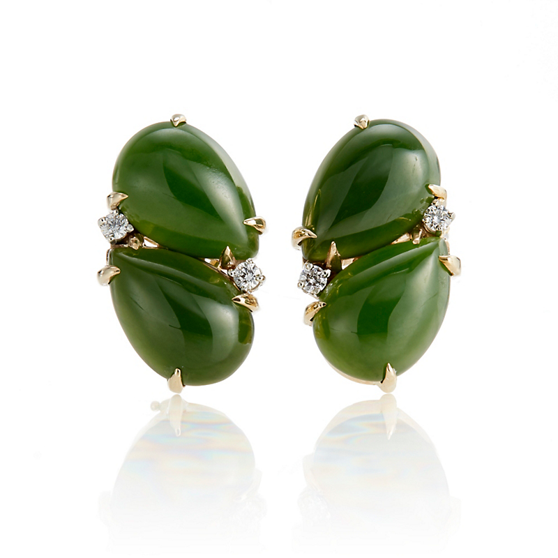 Gump's Double Green Nephrite Jade Teardrop with Diamond Cluster Earrings