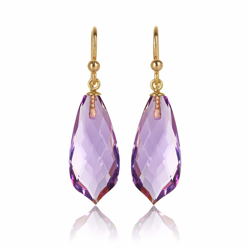 Gump's Faceted Amethyst Pointed Teardrop Earrings