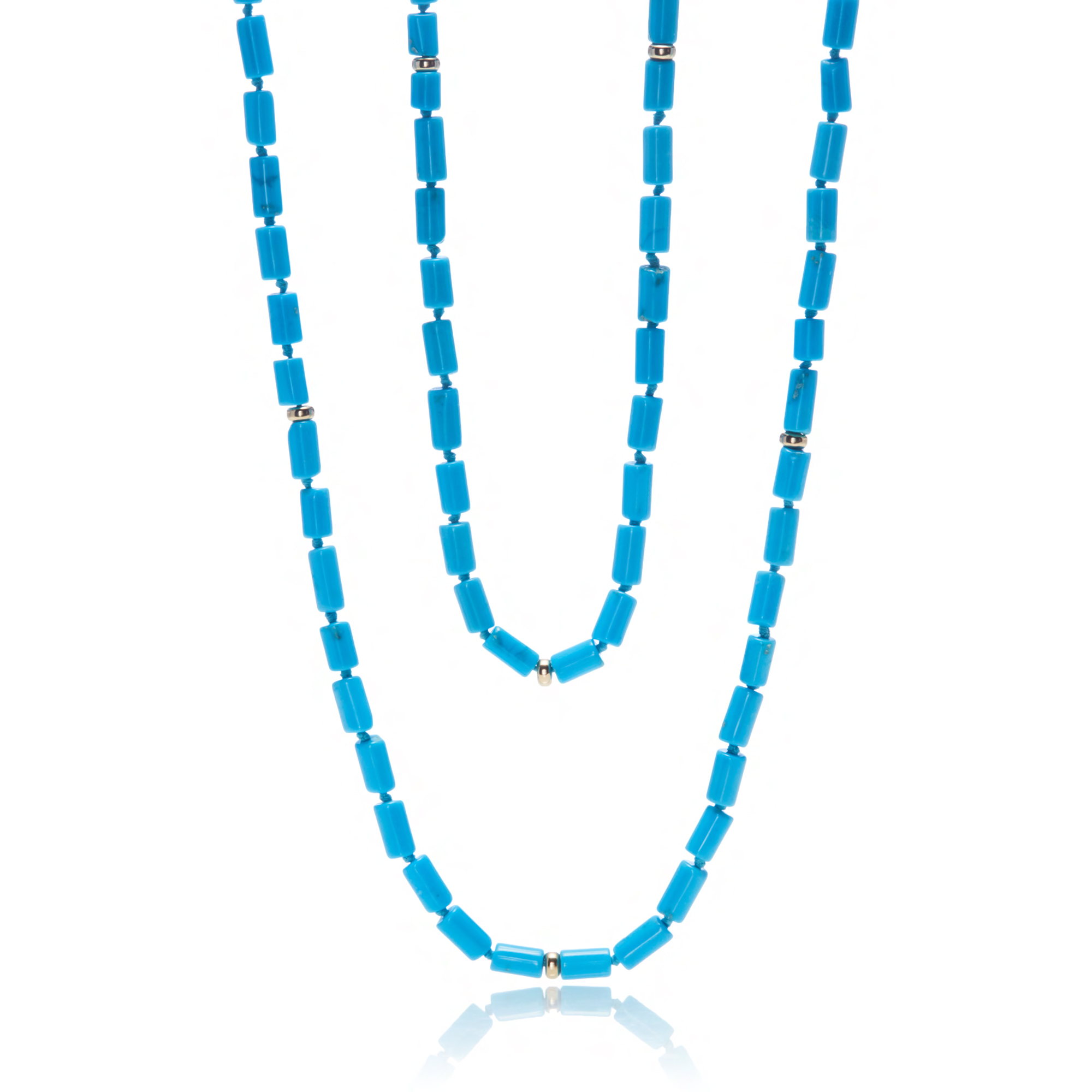 Gump's Long Turquoise & Gold Necklace