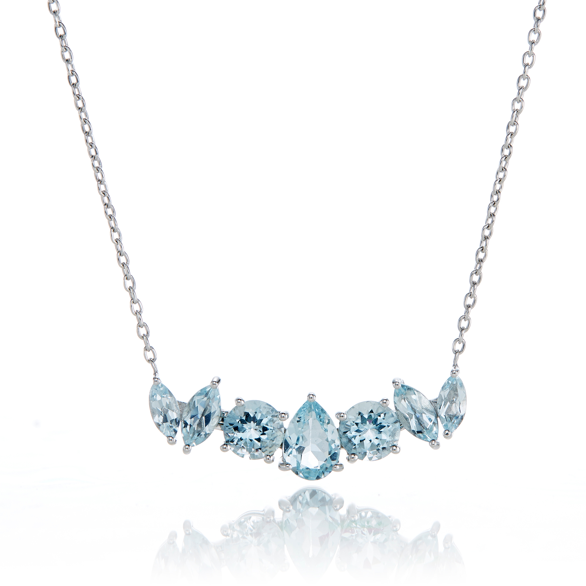 Gump's 7-Stone Aquamarine Pendant Necklace