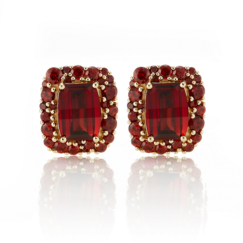 Gumps Mozambique Garnet With Garnet Cluster Border Earrings