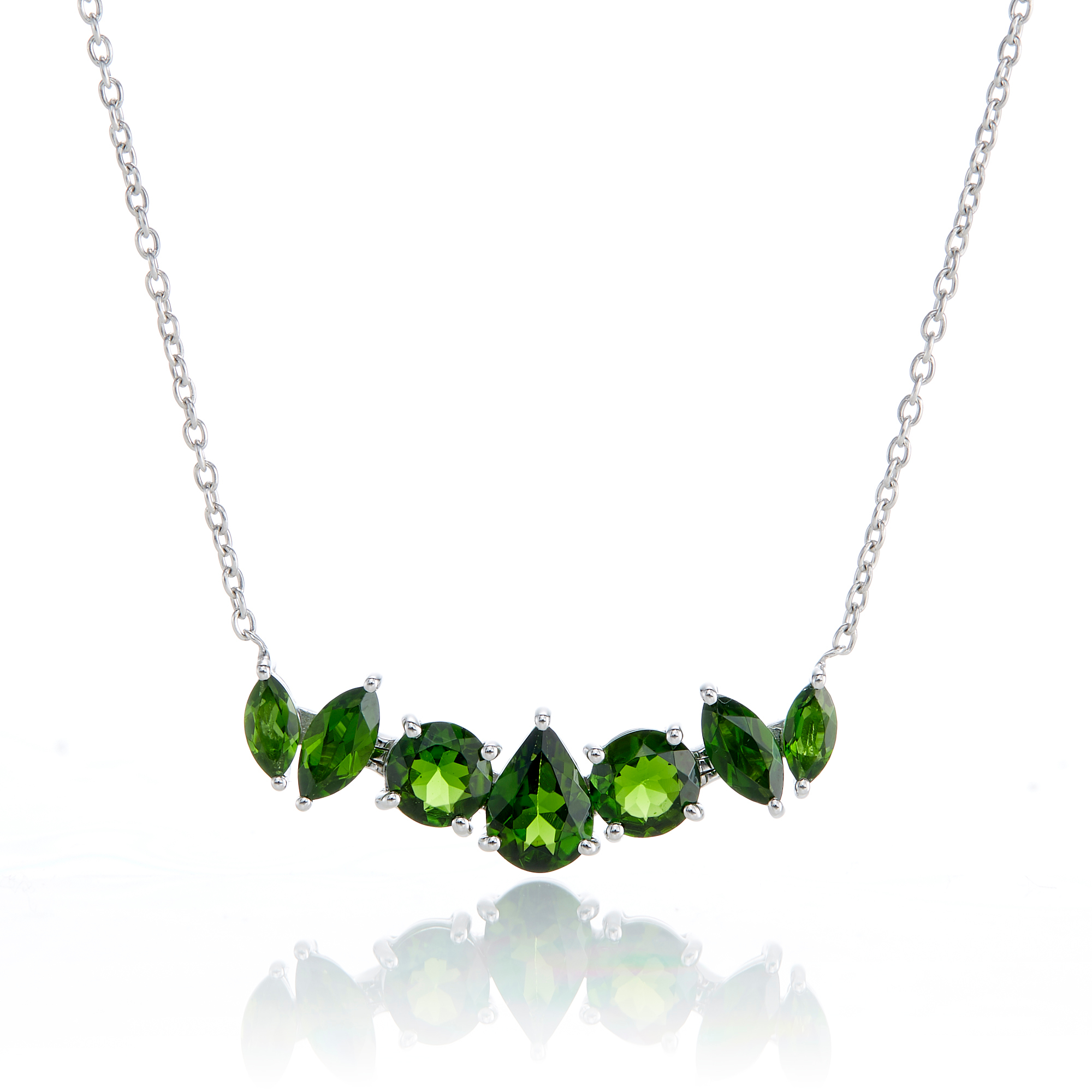 Gump's 7-Stone Chrome Diopside Pendant Necklace