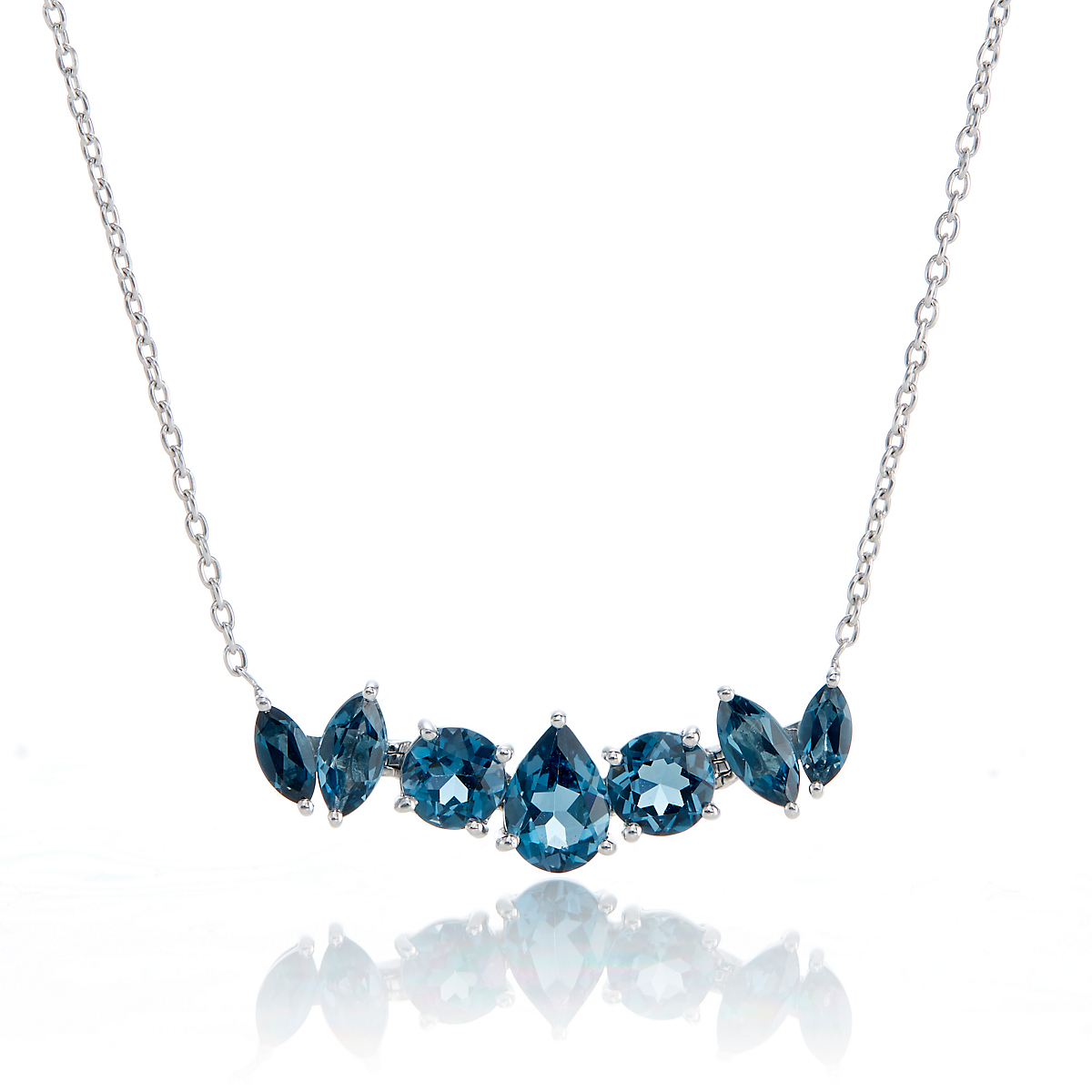Gump's 7-Stone London Blue Topaz Pendant Necklace