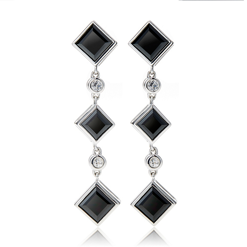 Gump's Triple Black Spinel & White Topaz Offset Square Drop Earrings