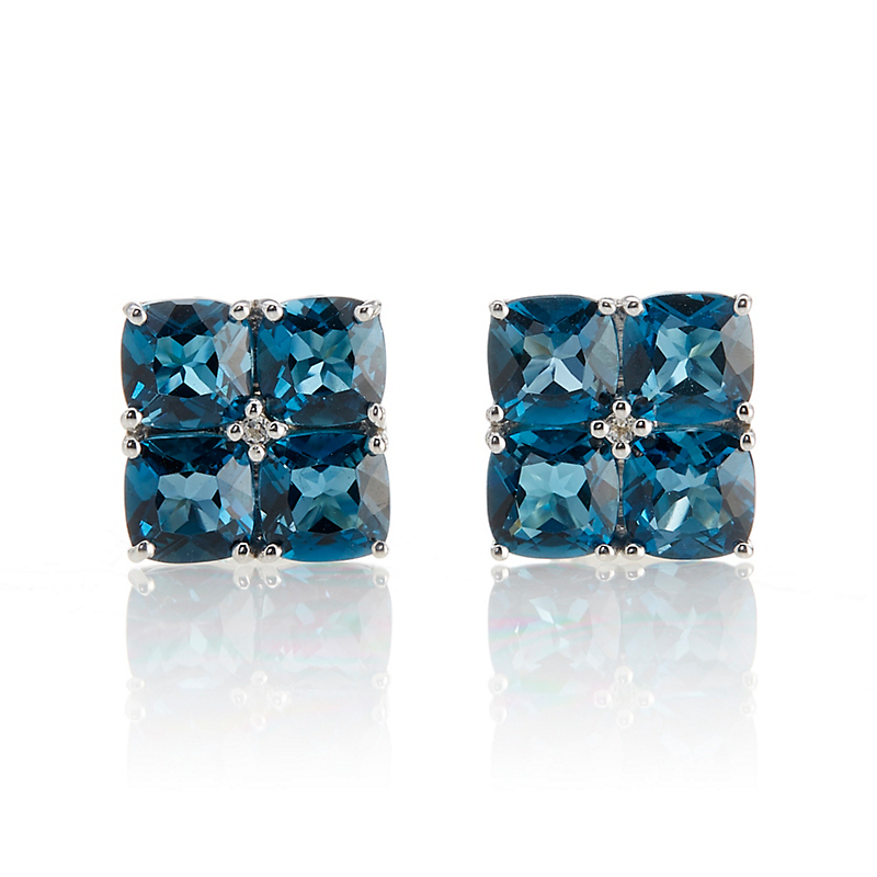 Gump's Sterling Silver London Blue & White Topaz Flower Earrings