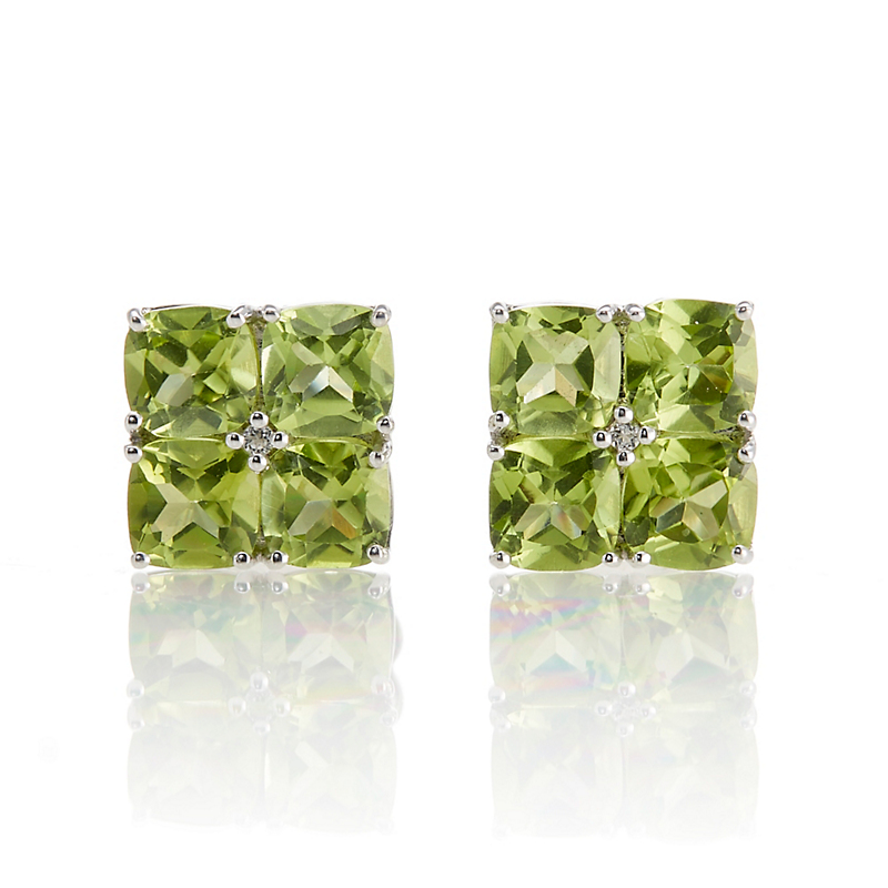 Gump's Sterling Silver Peridot & White Topaz Flower Earrings