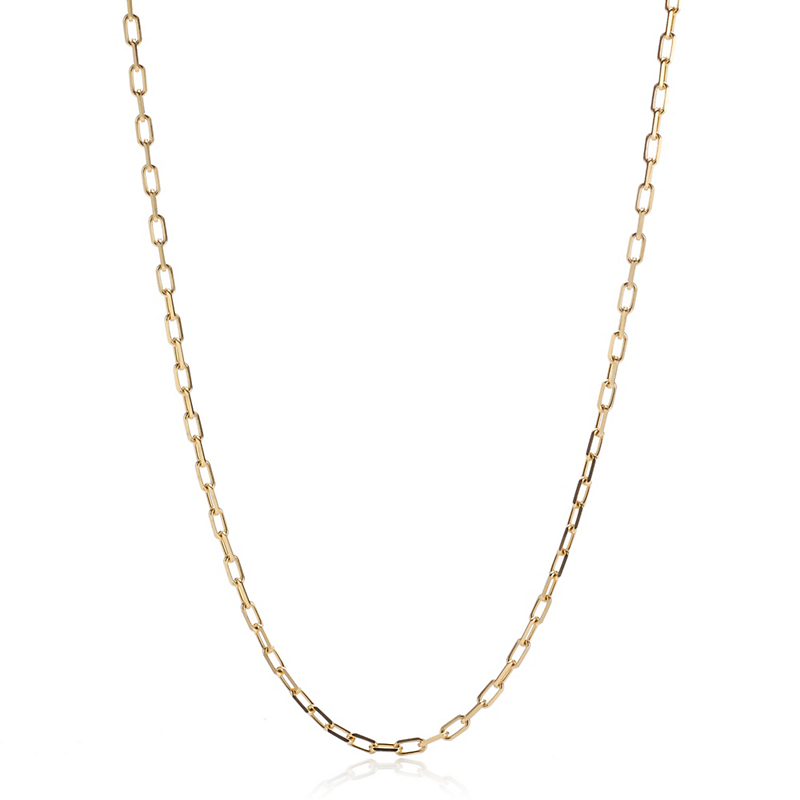 Elongated Diamond-Cut Gold Cable Chain