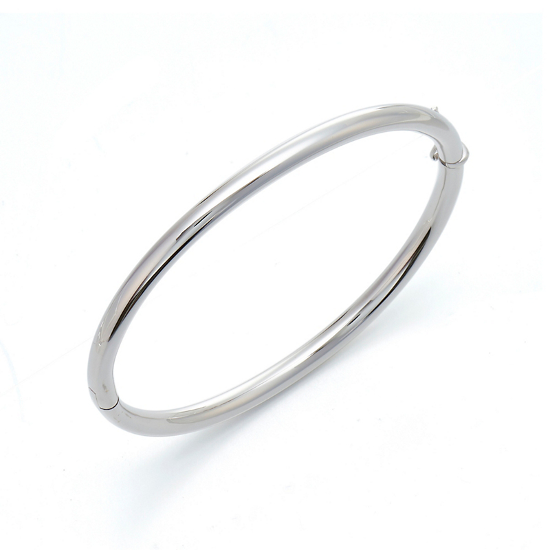 Thin Tube White Gold Hinged Bangle