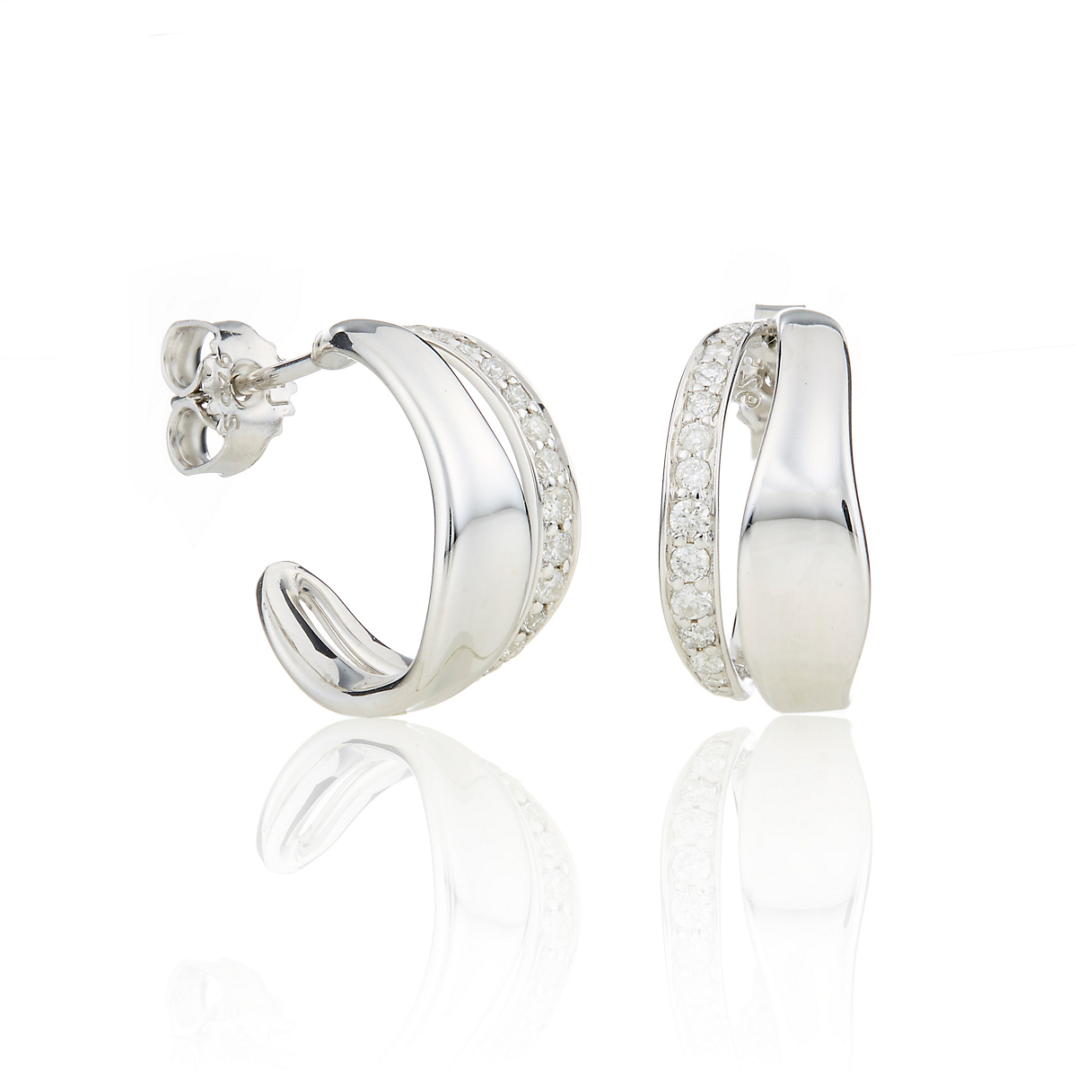 Georg Jensen Marcia Huggie Earrings With Diamonds