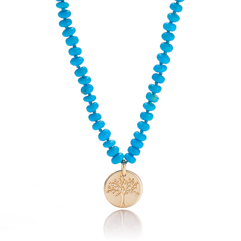 Gump's Turquoise Necklace With Gold Tree Disc Charm