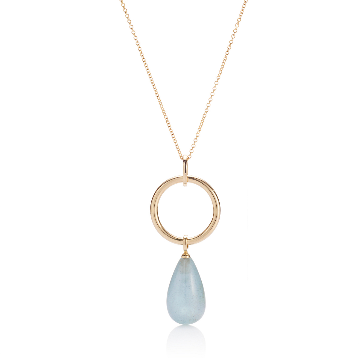 Gump's Gold Hoop & Aquamarine Drop Pendant Necklace