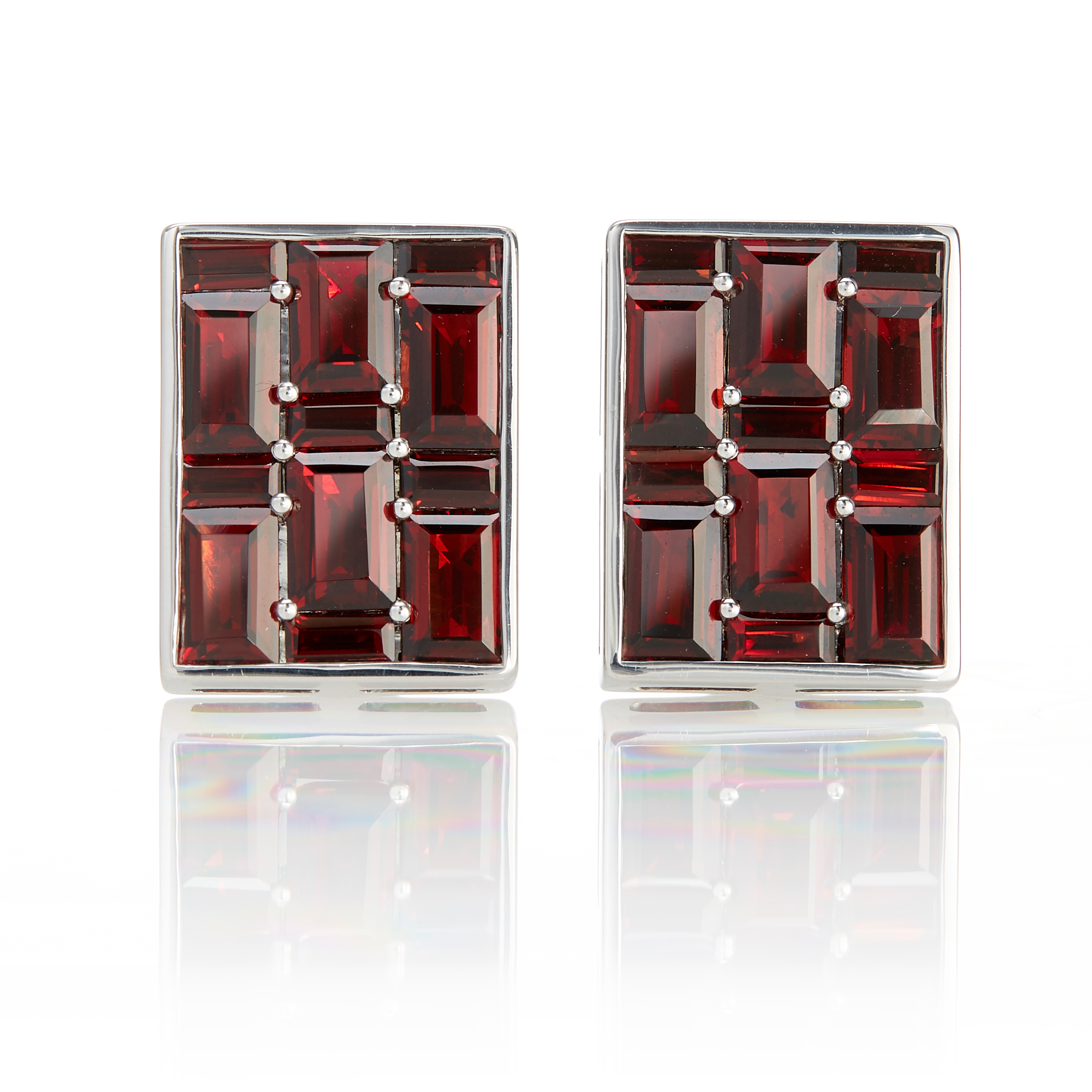 Gump's Garnet Rectangle Mosaic Pavé Earrings