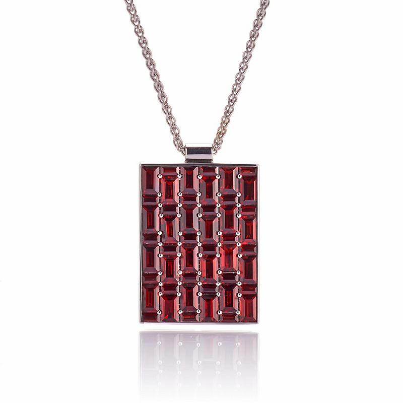 Gump's Garnet Rectangle Mosaic Pavé Pendant Necklace