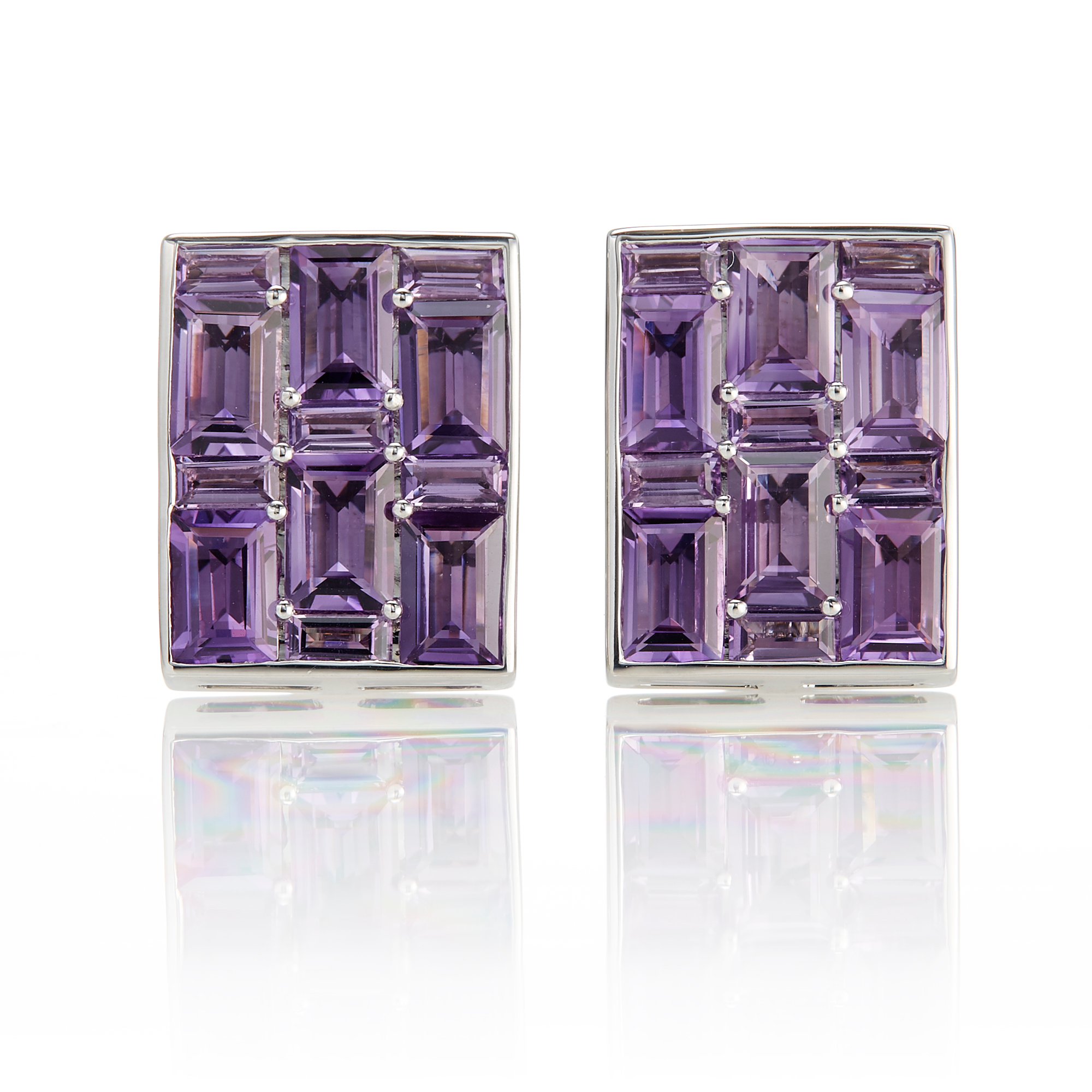 Gump's Amethyst Rectangle Mosaic Pavé Earrings