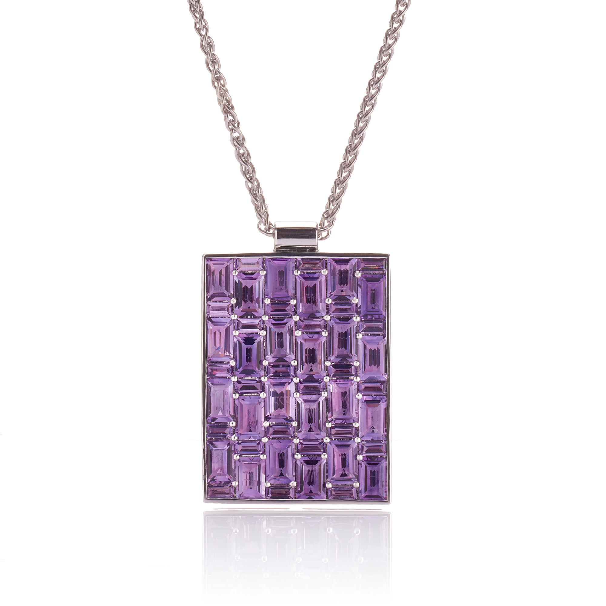 Gump's Amethyst Rectangle Mosaic Pavé Pendant Necklace