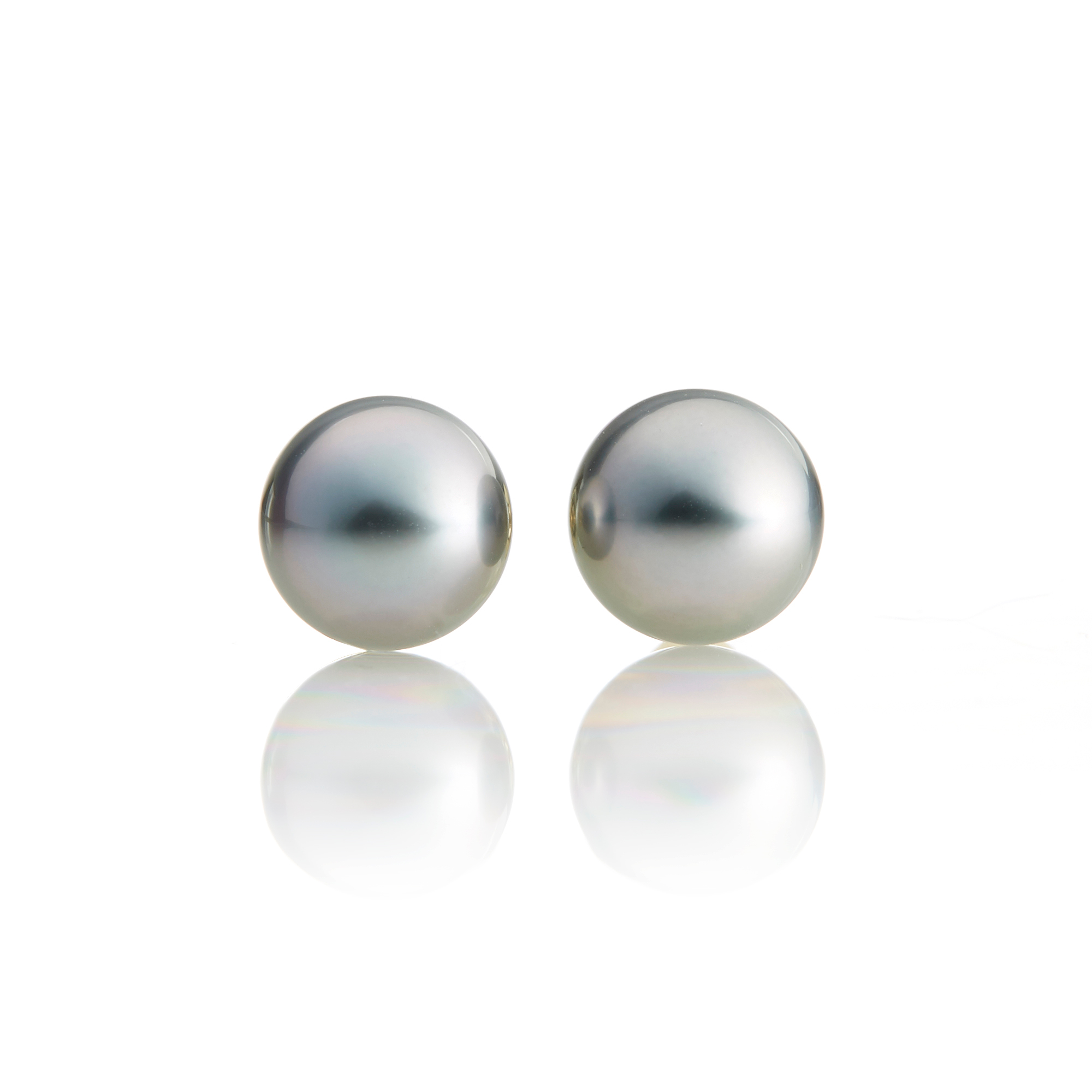 Gump's Round Tahitian Pearl Stud Earrings