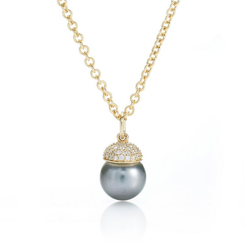 Gump's Tahitian Pearl & Diamond Dome Pendant Necklace