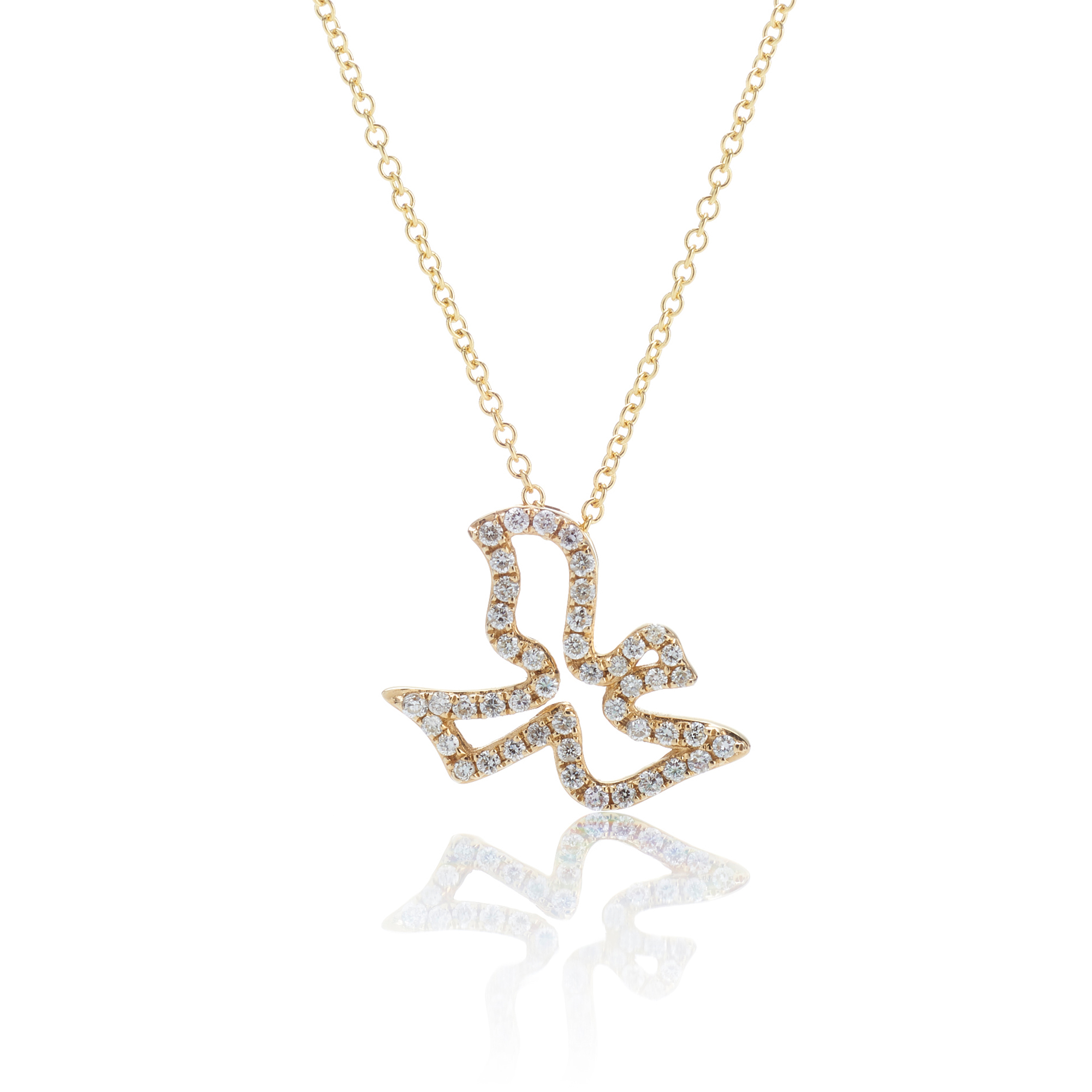 Gump's Diamond Dove Silhouette Pendant Necklace