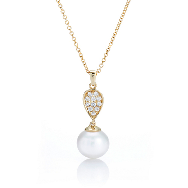 Gump's Petite Pearl & Diamond Petal Pendant Necklace