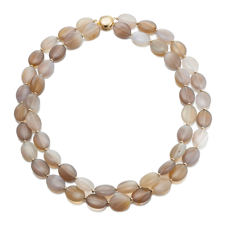 Gump's Grey Agate & Gold Two-Strand Necklace
