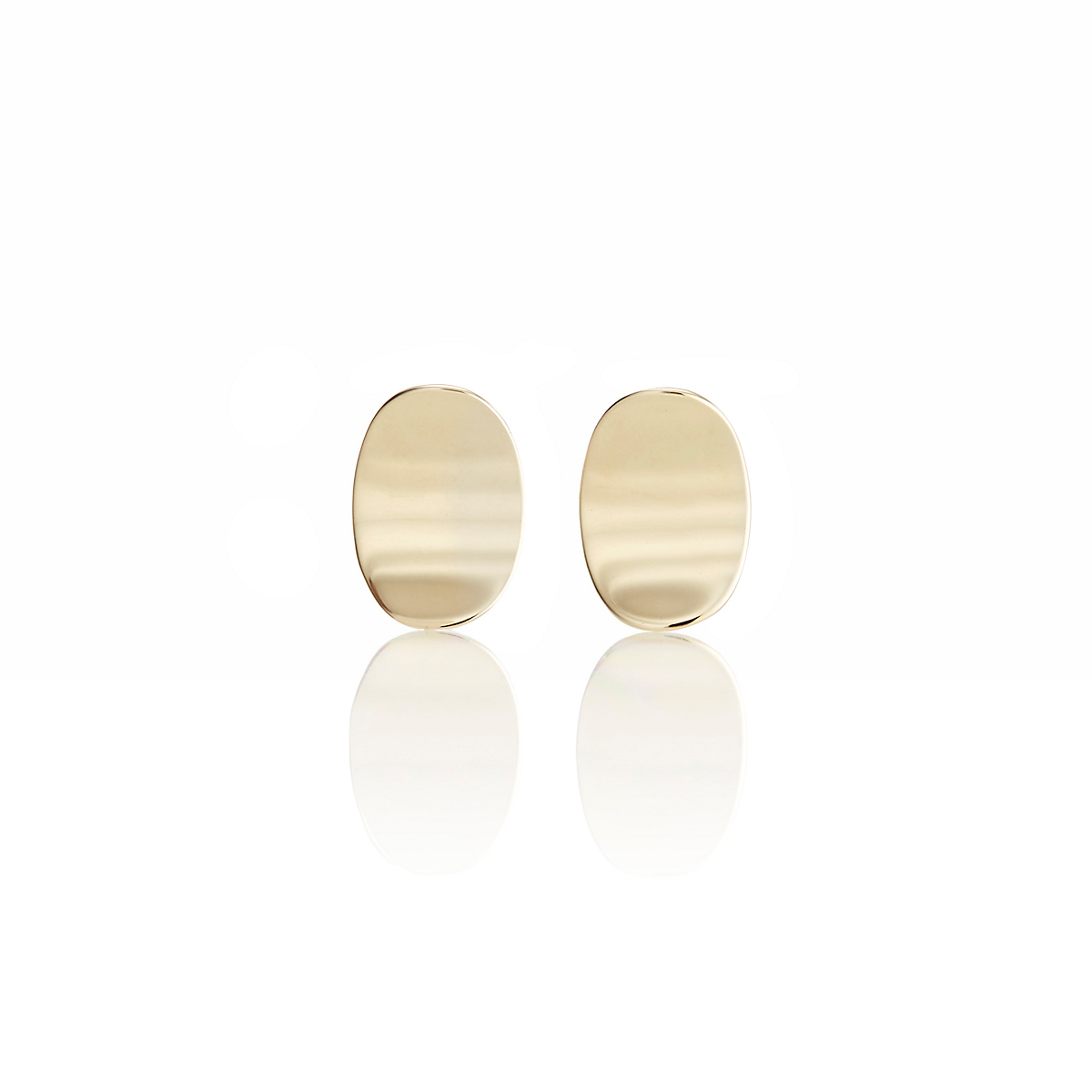 Gump's Petite Concave Oval Stud Earrings