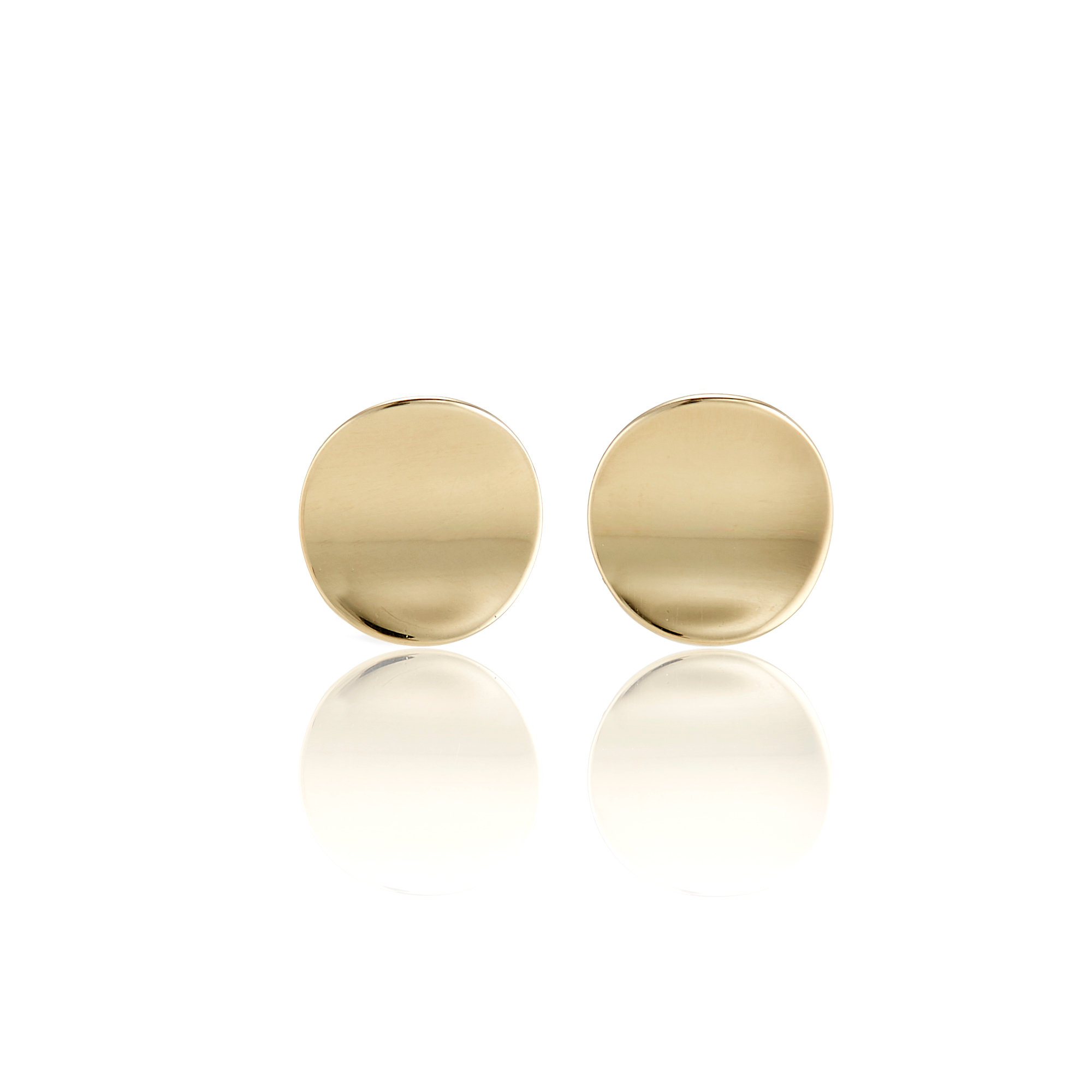 Gump's Gold Disc Concave Stud Earrings
