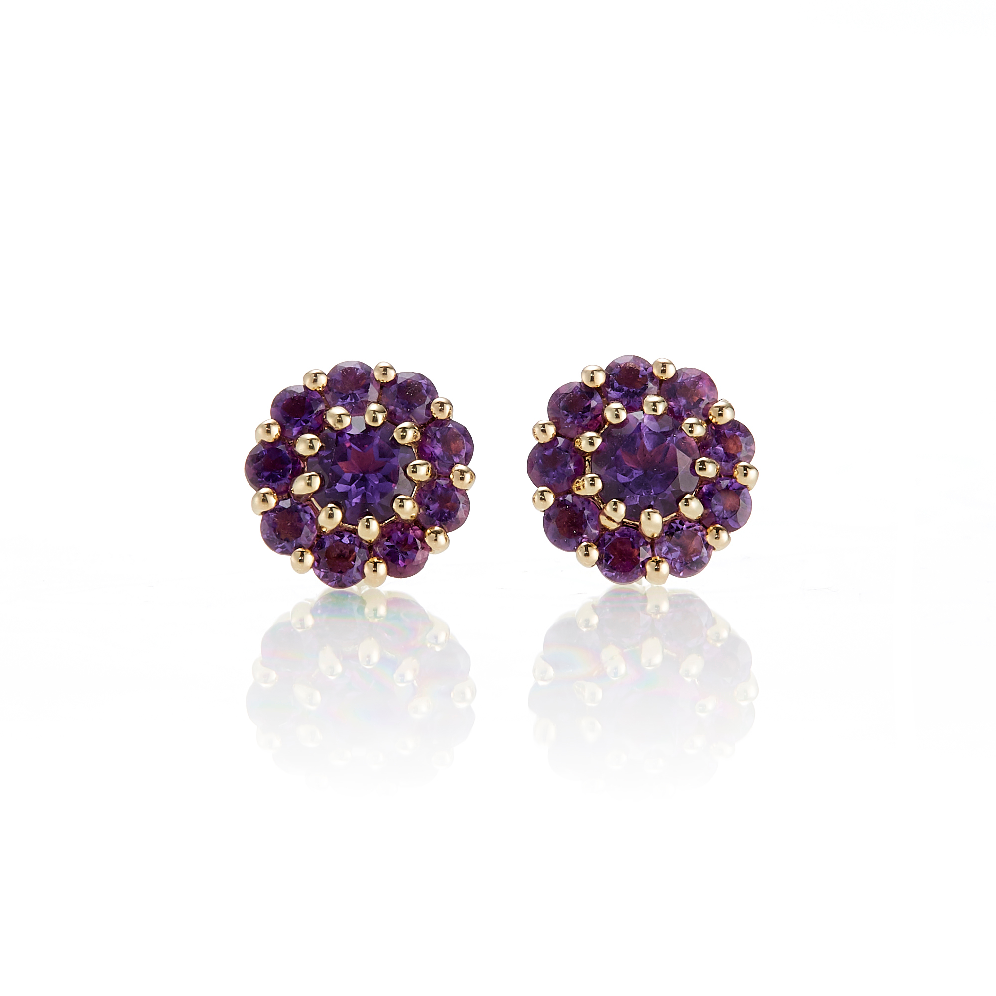 Gump's Petite Pavé Amethyst Floret Stud Earrings