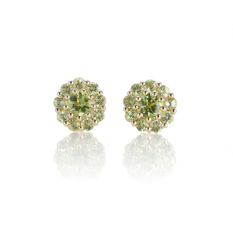 Gump's Petite Pavé Peridot Floret Stud Earrings