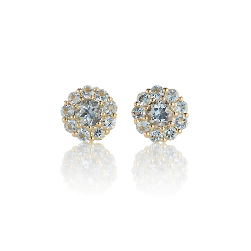 Gump's Petite Pavé Aquamarine Floret Stud Earrings