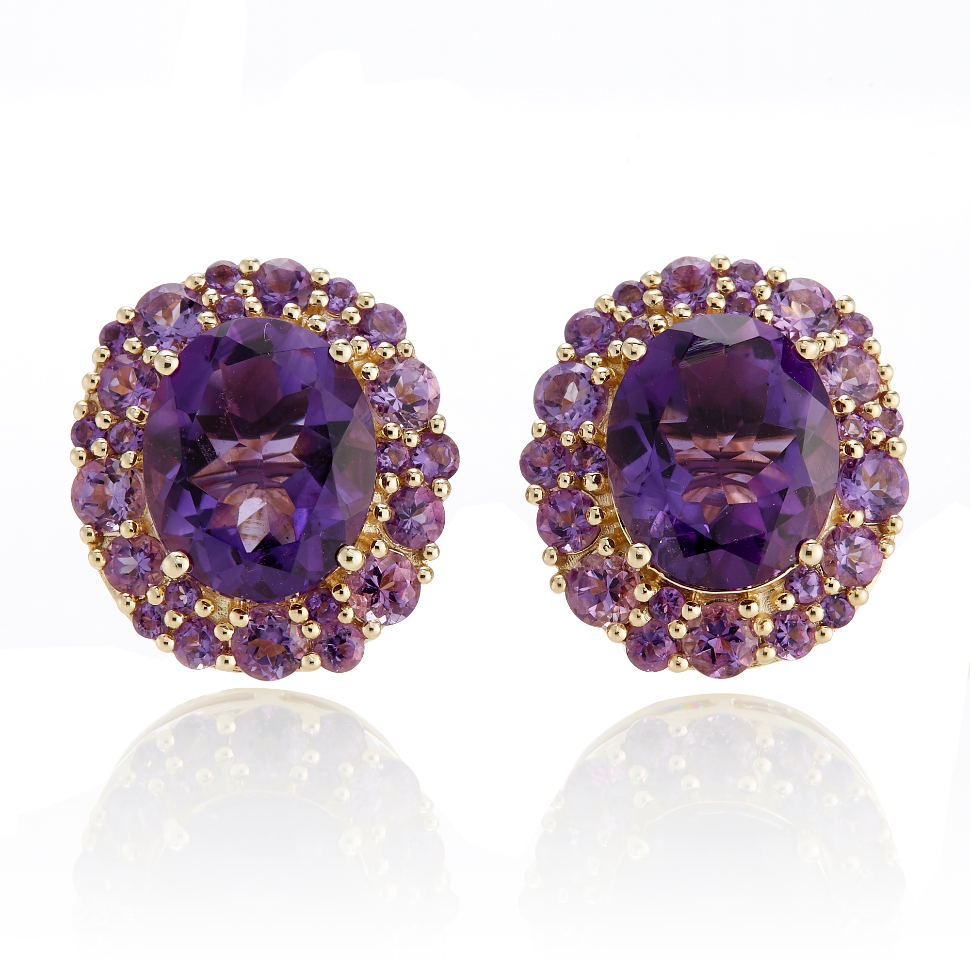 Gump's Faceted Amethyst Oval Halo Earrings