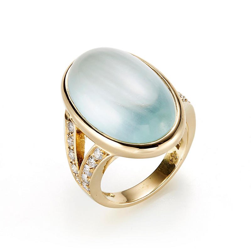 Gump's  Aquamarine Cabochon & Diamond Split Shank Ring