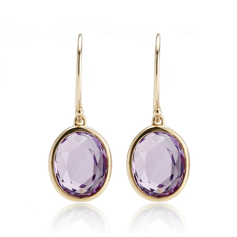 Gump's Petite Faceted Oval Amethyst Drop Earrings