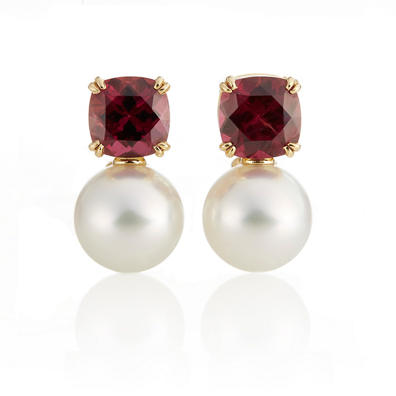 Gump's Garnet & White South Sea Pearl Earrings