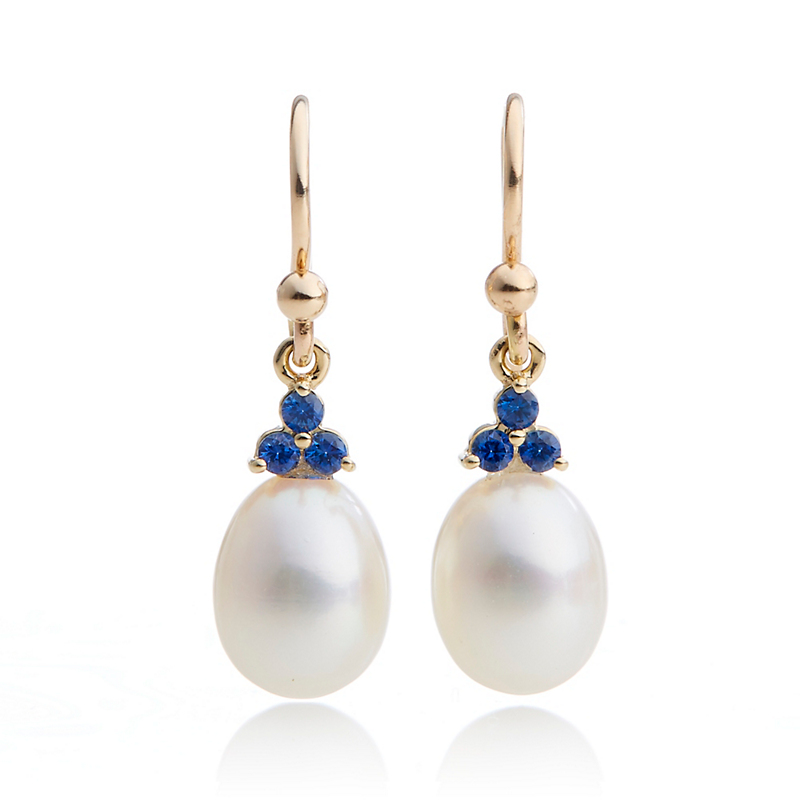 Gump's Pearl & Sapphire Trio Drop Earrings