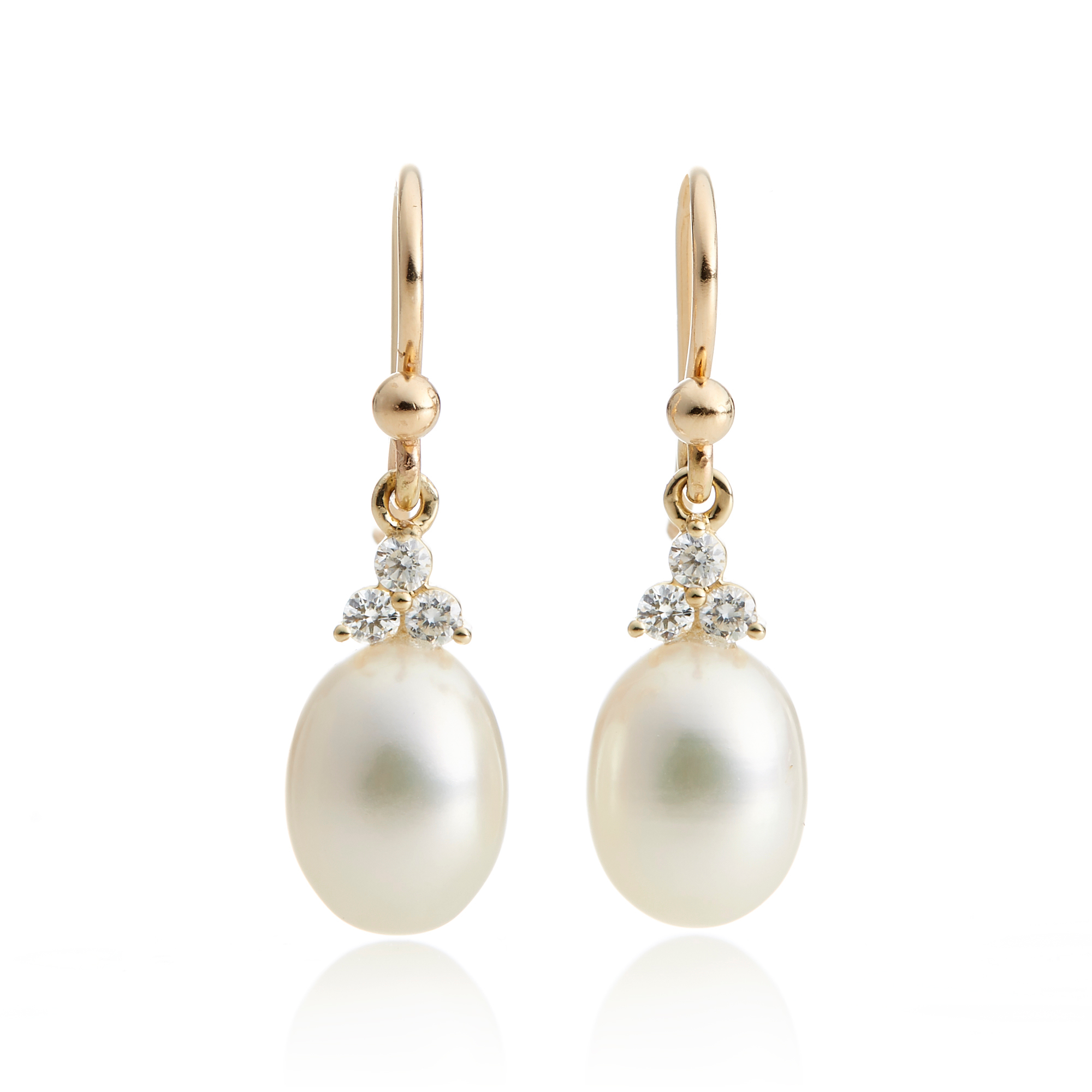 Gump's Fresh Water Pearl & Diamond Trio Earrings