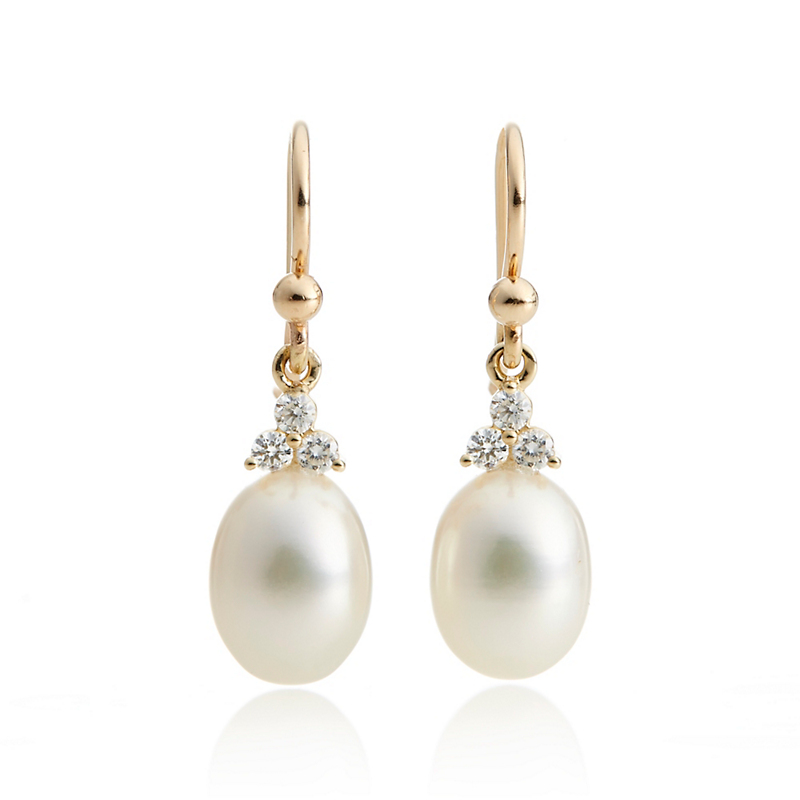 Gump's Pearl & Diamond Trio Drop Earrings