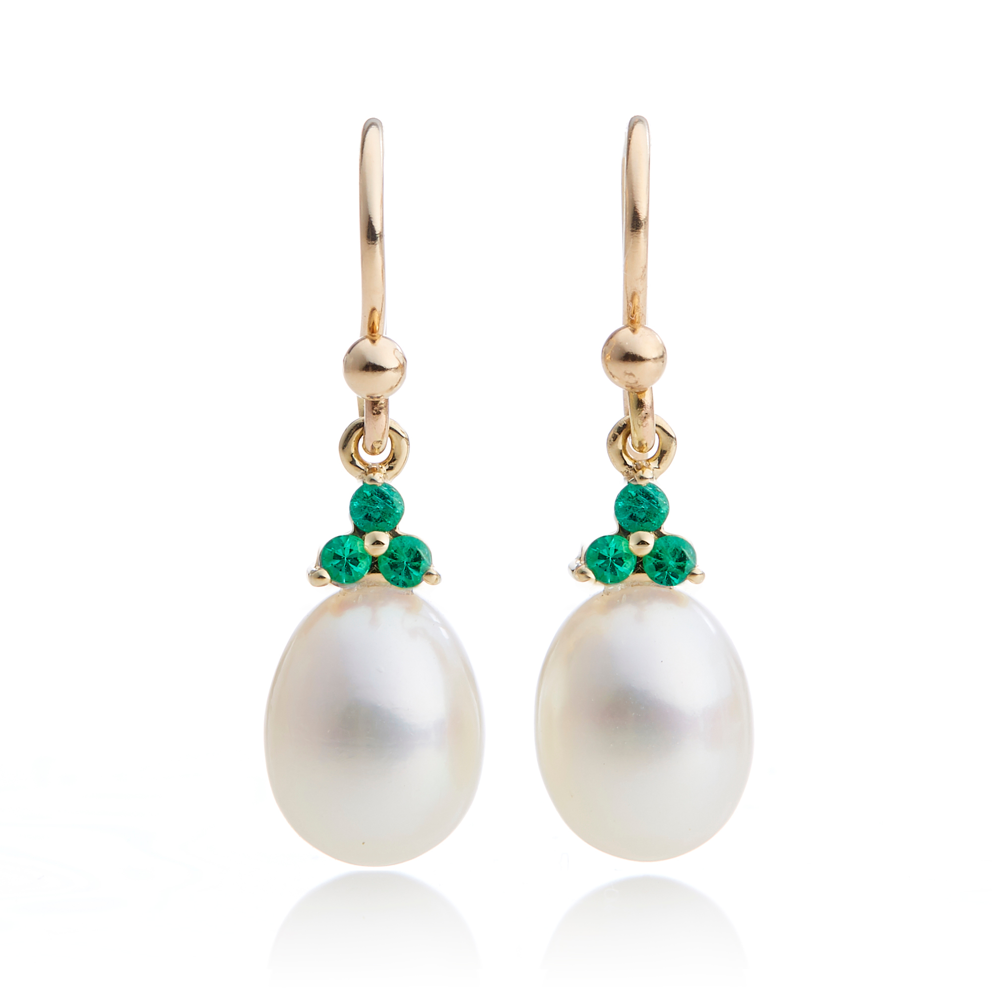 Gump's Pearl & Emerald Trio Drop Earrings