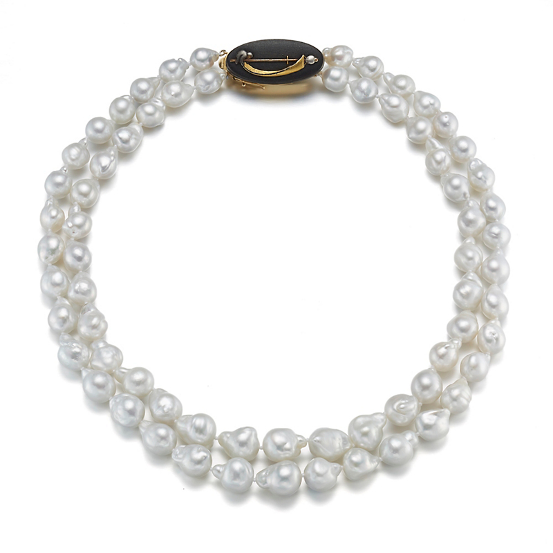 Gump's Double Strand South Sea Pearl Necklace With Kashira Clasp