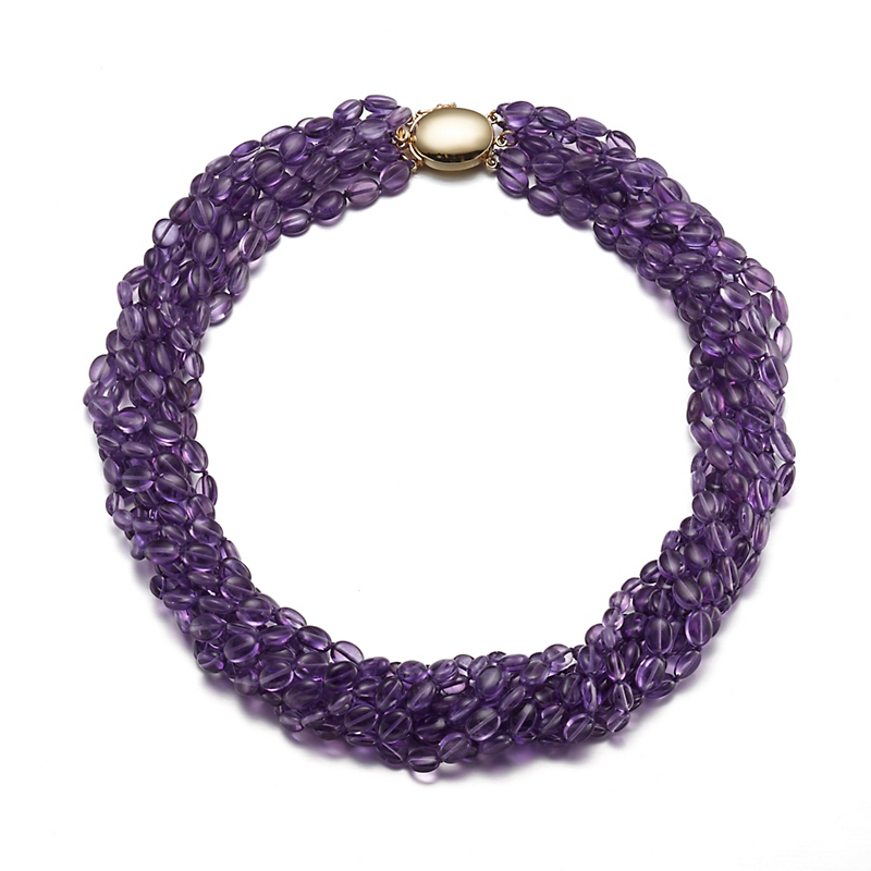 Gump's Multi-Strand Amethyst Pebble Necklace