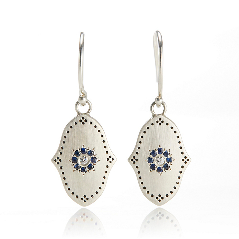 Adel Chefridi Sapphire Grace Silver Medallion Drop Earrings