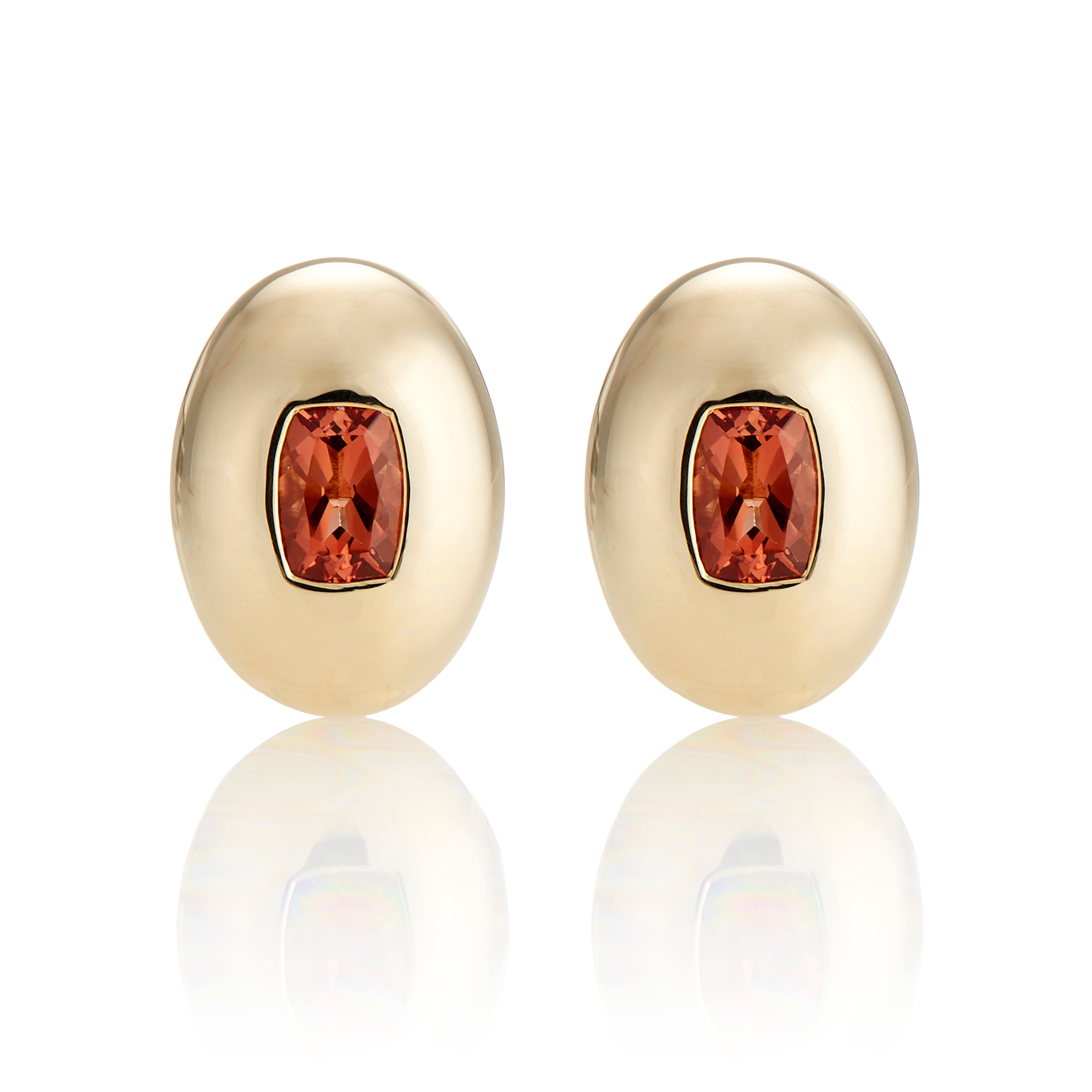 Gump's Oval Orange Andesine Earrings