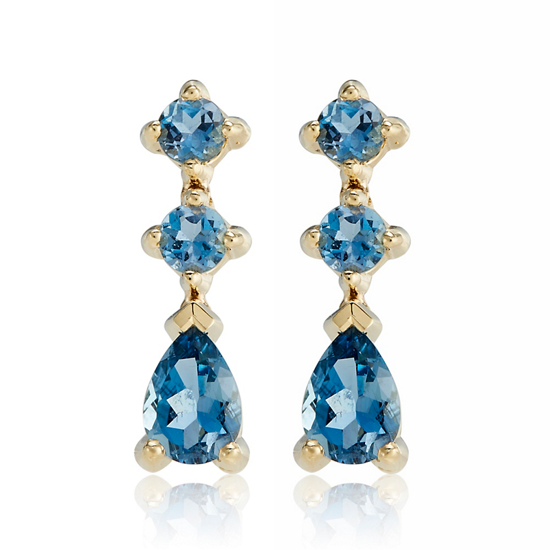 Gump's Two Round Aquamarines With Pear Shape Drop Earrings