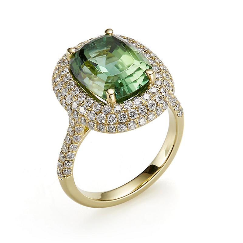 Gump's Green Tourmaline with Triple Diamond Halo Ring