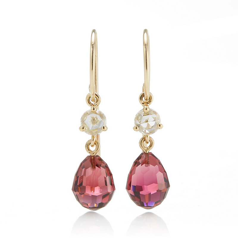 Gump's Diamond & Rubellite Briolette Drop Earrings