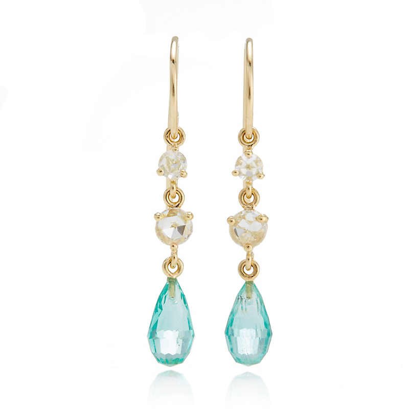 Gump's Diamond & Emerald Briolette Drop Earrings