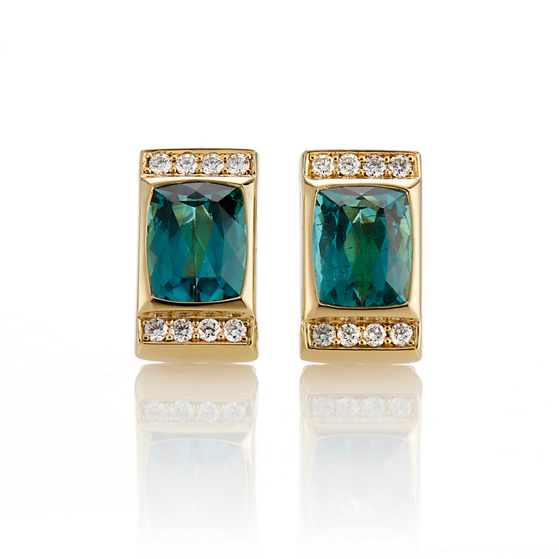Gump's Faceted Blue Green Tourmaline with Diamond Border Earrings