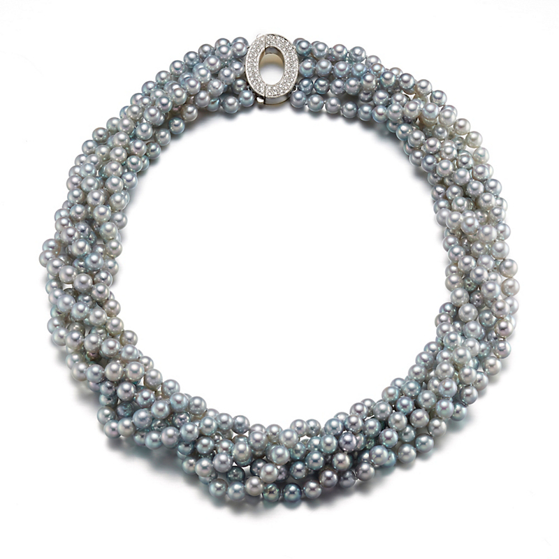 Gump's Six Strand Blue Grey Akoya Pearl & Diamond Necklace